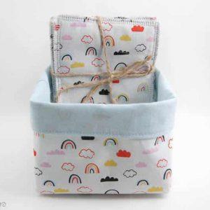 lingettes lavables arc-en-ciel